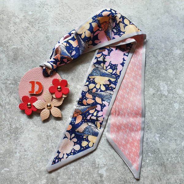 Scarf-Tie Personalised Initial Floral Bagcharm (Design #2)