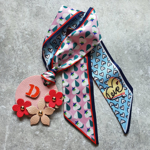 Scarf-Tie Personalised Initial Floral Bagcharm (Design #9)