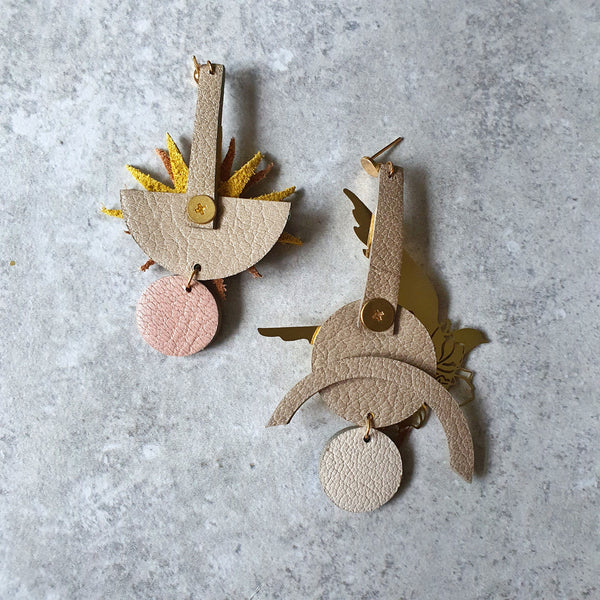 Sunburst Swallow Asymmetrical Earrings (CERISE)