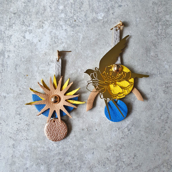 Sunburst Swallow Asymmetrical Earrings (YELLOW)