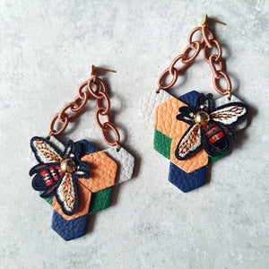 Triangle Honeycomb Earrings (LIGHT ORANGE)