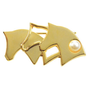 Brooch - Horse Heads w/ Pearl Gold