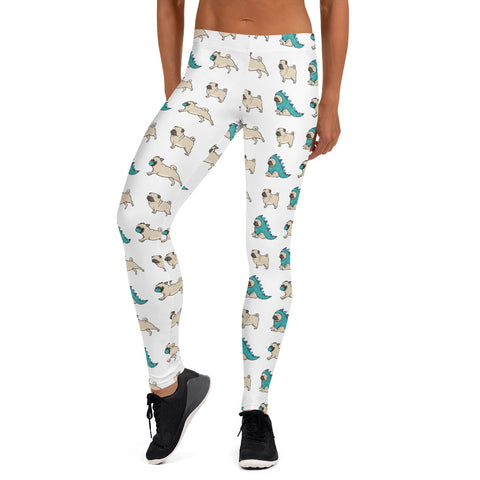 Cartoon Pug Fitness Leggings, Home Workout