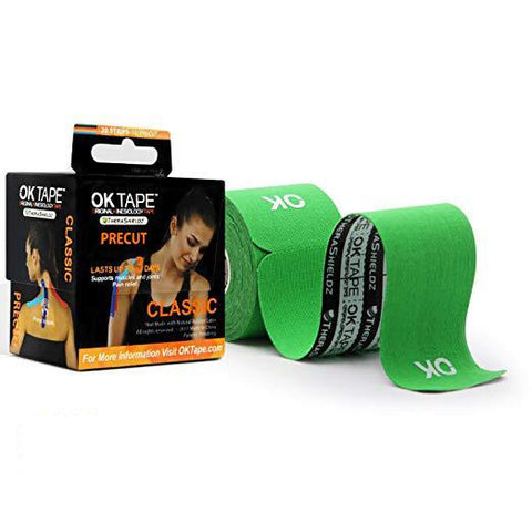 OKTape Kinesiology Tape, Classic Pre-Cut Roll, Green
