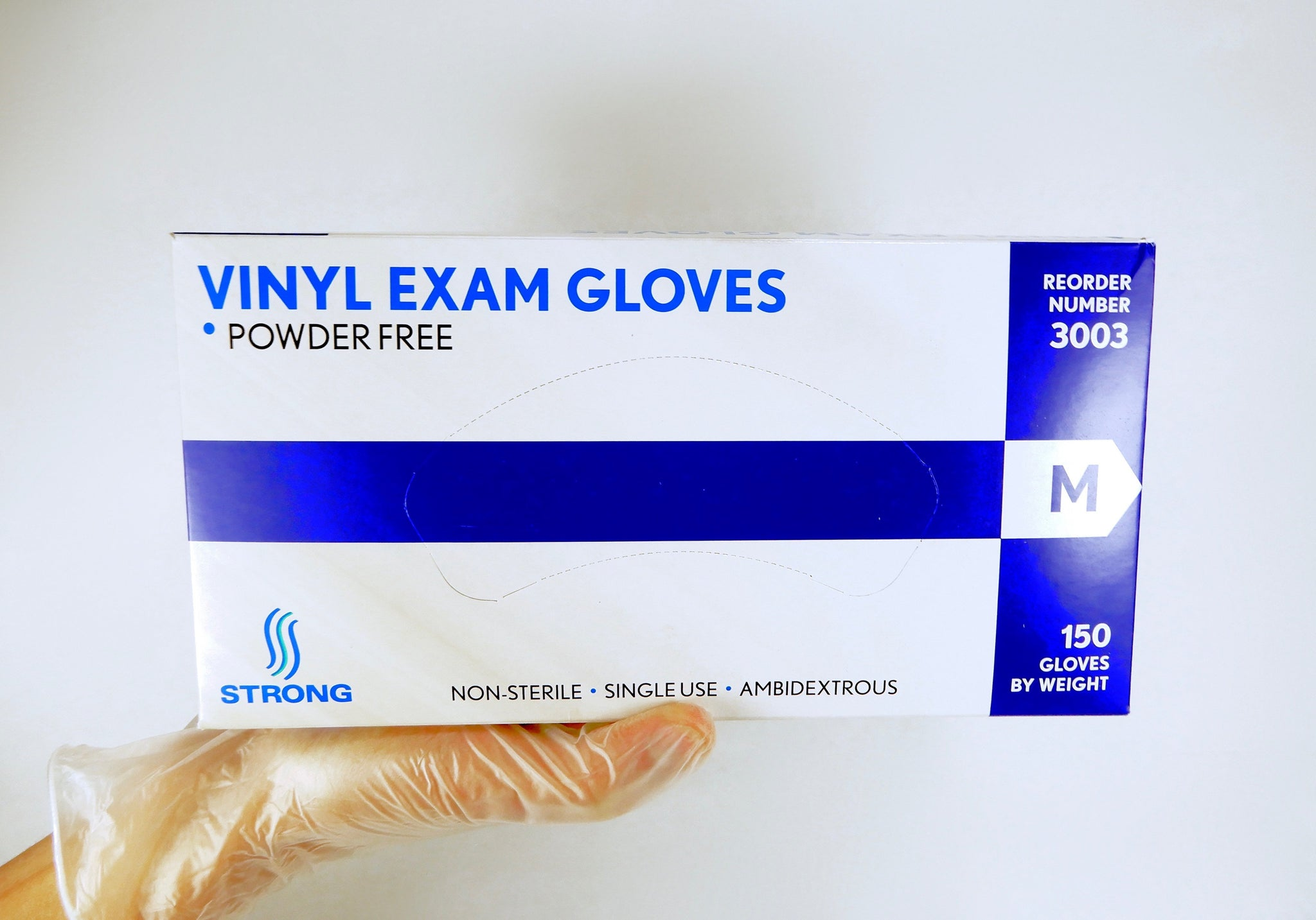STRONG Vinyl Exam Gloves- Powder Free - 150 Per Box