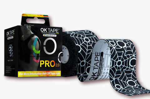 OKTape Kinesiology Tape, Pro 2.0 Roll, Black+White