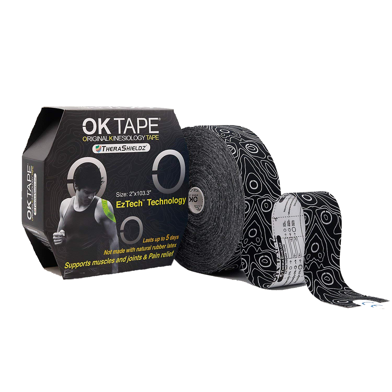 OKTape Kinesiology Tape,  Pro Black, Bulk Packaging
