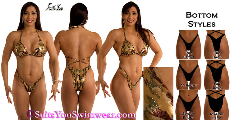 Figure Competition Suit or Physique Competition Suit, Camo Theme