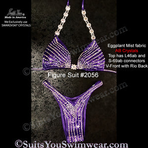 Figure Competition Suit or Physique Suit #2056, eggplant fabric