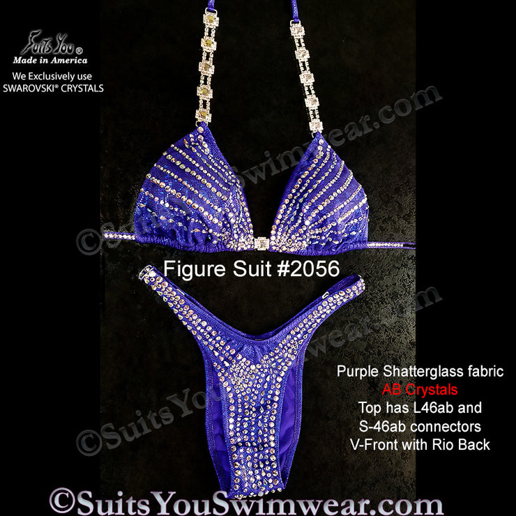 Figure Competition Suit or Physique Suit #2056, purple fabric
