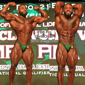 Men's Bodybuilding Suits, Rio Cut. IFBB or NPC posing suits. Derik Oslan