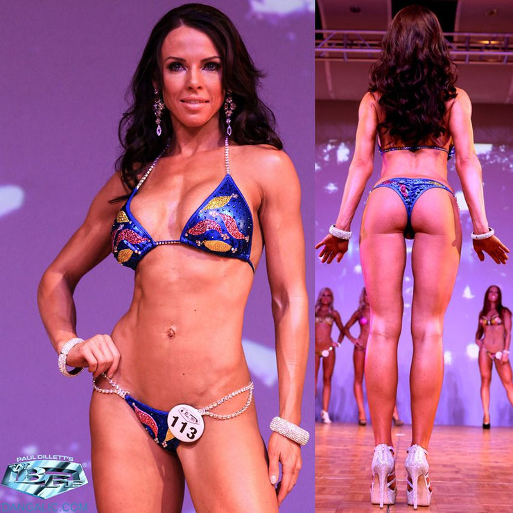 WBFF Competition Suit, Gorgeous Crystal Leaves Design, Rabecca
