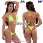 Posing Practice bikini with adjustable sides, chartreuse Lycra fabric