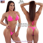 Posing Practice bikini with adjustable sides, hot pink lycra fabric