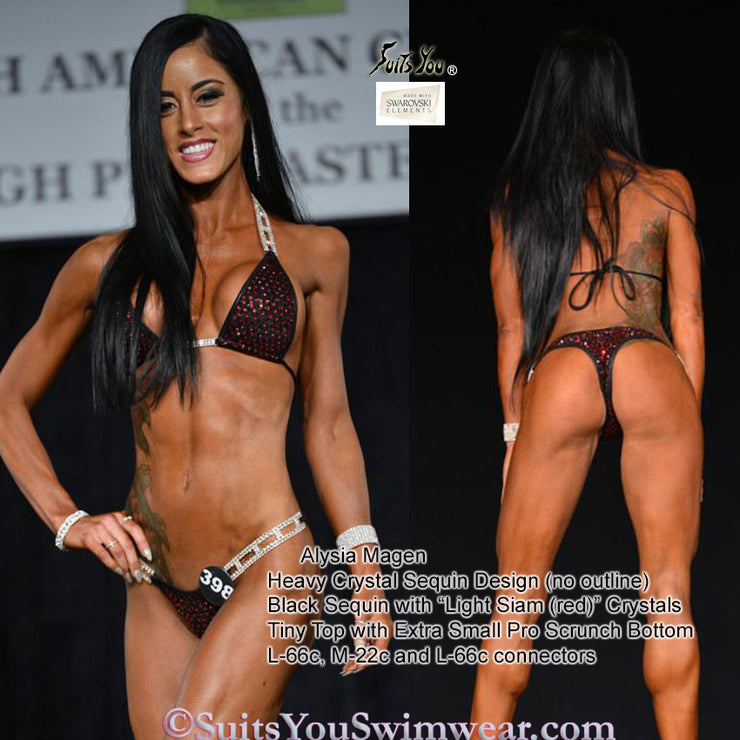 Sequin Competition Bikini, Heavy Crystal Sequin Design, customer photo