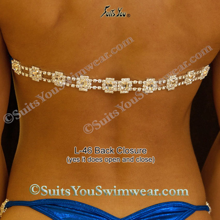 Cleopatra Competition Bikini, Champagne Sequin with Crystals