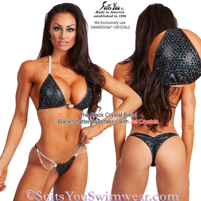 Black Crystal Bikini, Competition Suit with black crystals