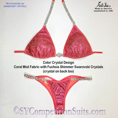 Ready to ship Crystal Competition Bikini, Coral with Fuchsia Shimmer Crystals
