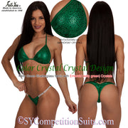Color Crystal Competition Bikini, lots of colored crystals, kelly green