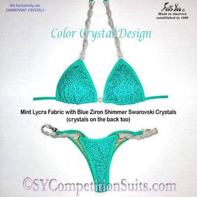 Ready to ship Crystal Competition Bikini, Mint with Blue Zircon Shimmer Crystals