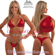 Color Crystal Competition Bikini, lots of colored crystals, red