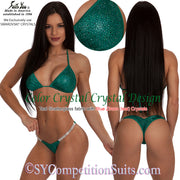 Color Crystal Competition Bikini, lots of colored crystals, teal