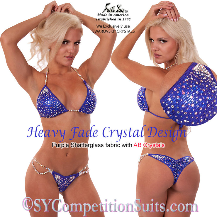 Competition Suit, Gorgeous Heavy Fade Crystal Design