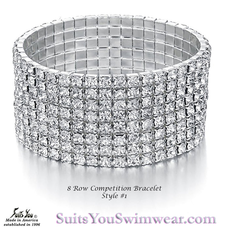 Competition Bracelet, 8 Row Rhinestone