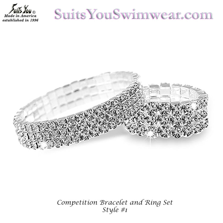Competition Bracelet WITH matching Ring, 3 row crystal