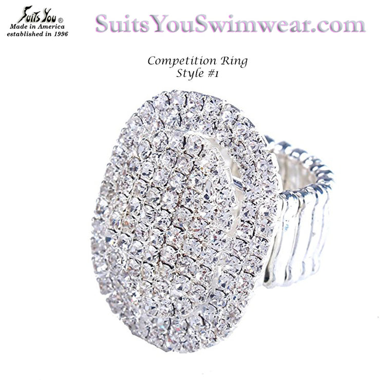 Bikini Competition Ring, Oval Rhinestone Ring