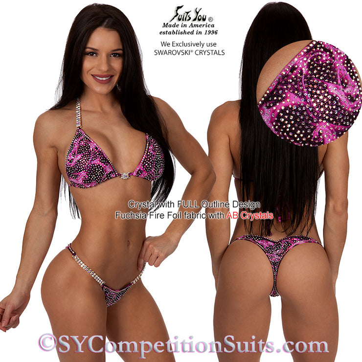 Crystal Competition Suit, Original Crystal WITH FULL Outline, pink