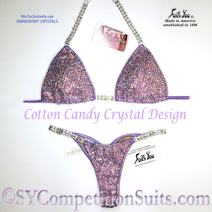Cotton Candy Competition Bikini, Lavender Crystal Design