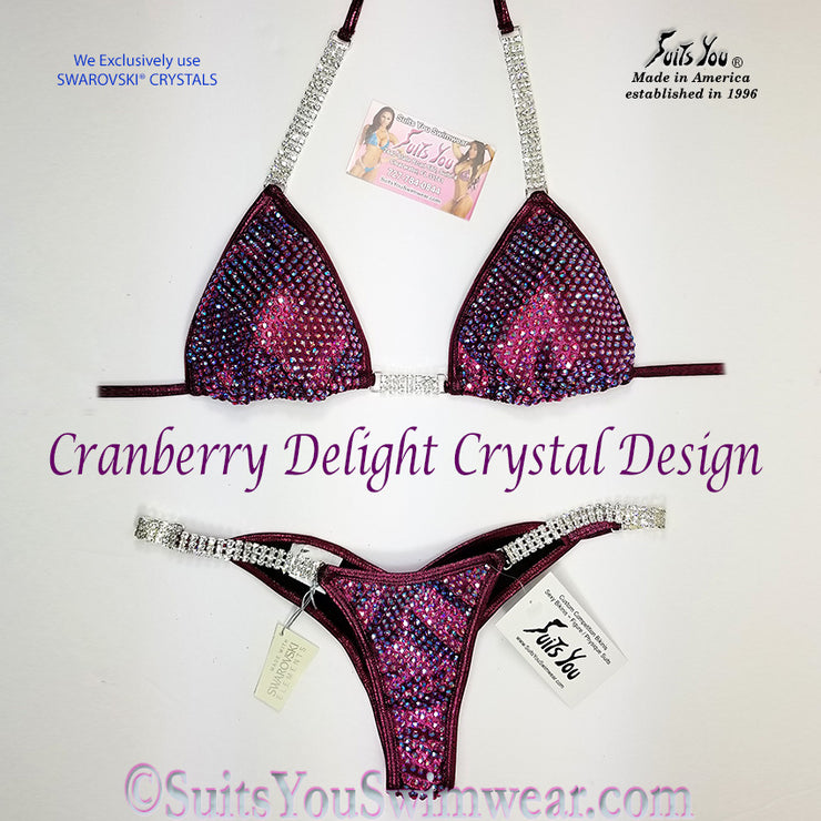 Ready to ship Crystal Competition Bikini, Cranberry Delight