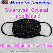 Swarovski Crystal Face Mask, Made In America! Black fabric