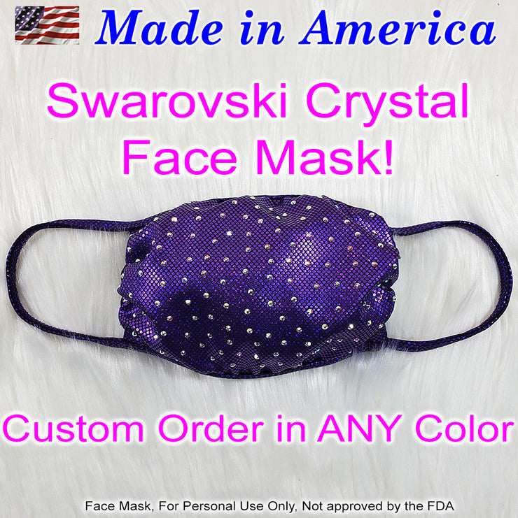 Custom Swarovski Crystal Face Mask, Made in the USA