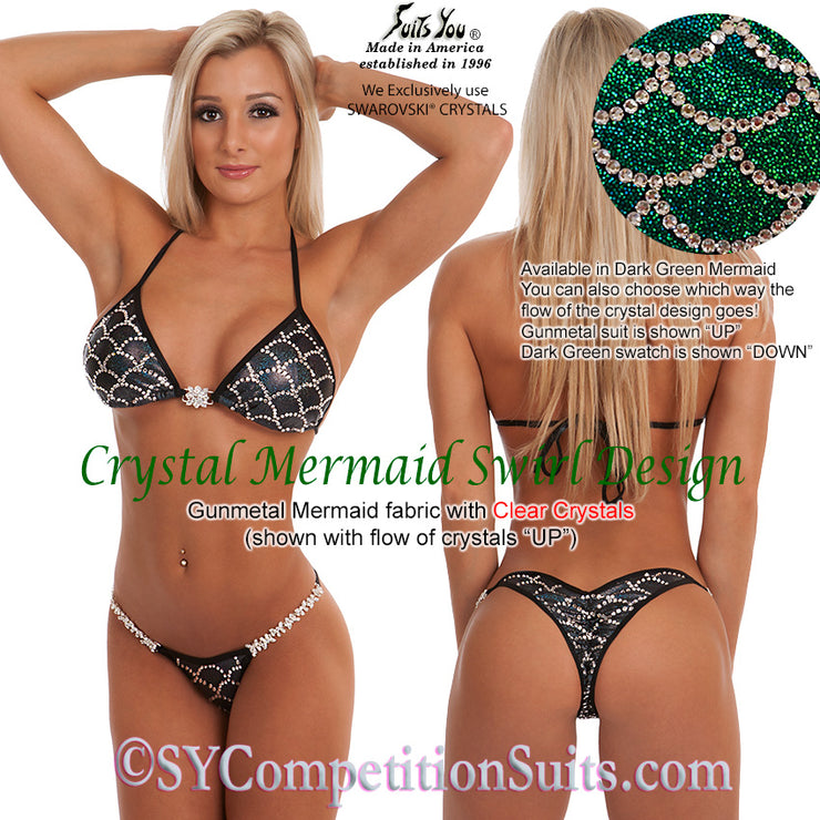 Competition Bikini, Crystal Mermaid Swirl Design SYCS509