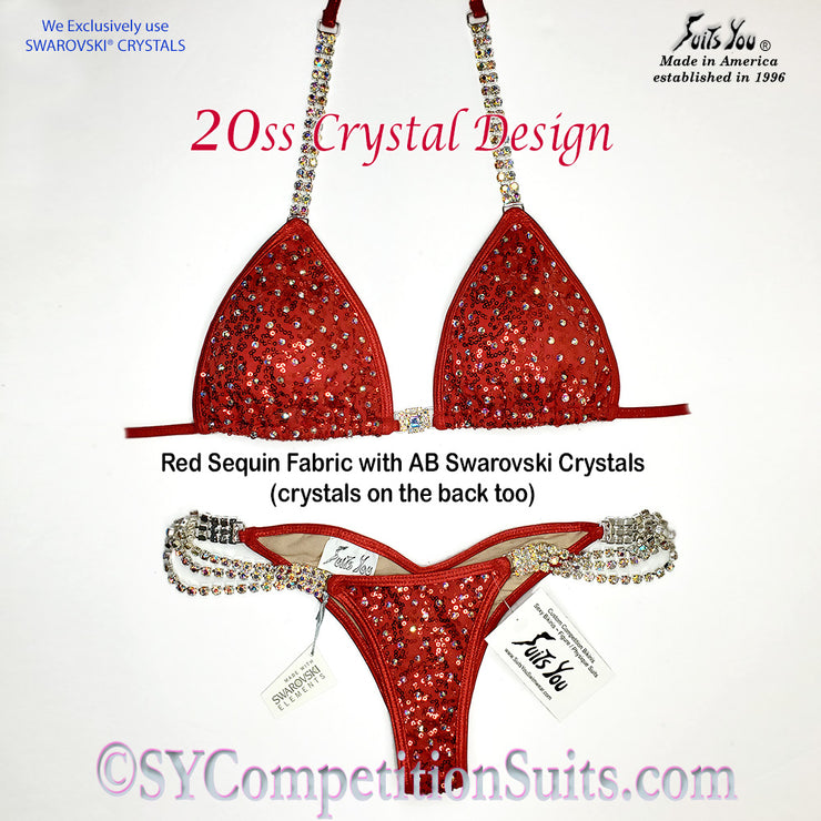 Ready to ship Crystal Competition Bikini, Red Sequin, 20ss design