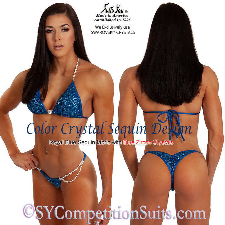 Color Crystal Sequin Competition Bikini, original crystal design, Navy Blue
