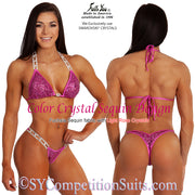 Color Crystal Sequin Competition Bikini, original crystal design, Fuchsia