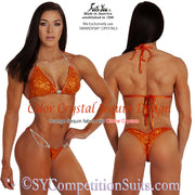 Color Crystal Sequin Competition Bikini, original crystal design, Orange