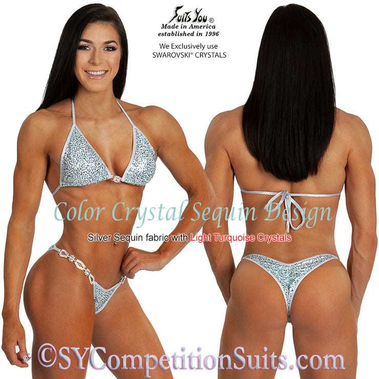 Color Crystal Sequin Competition Bikini, original crystal design, White