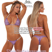 Sequin Competition Bikini, Heavy Crystal Sequin Design, lavender
