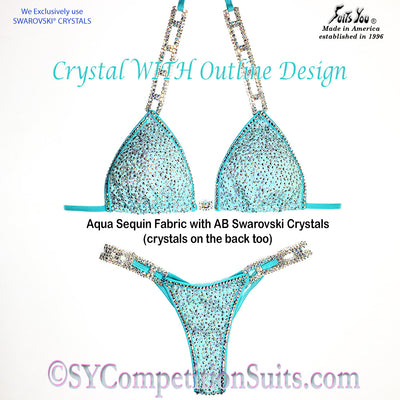 Ready to ship Crystal Competition Bikini, Crystal WITH Outline, Aqua