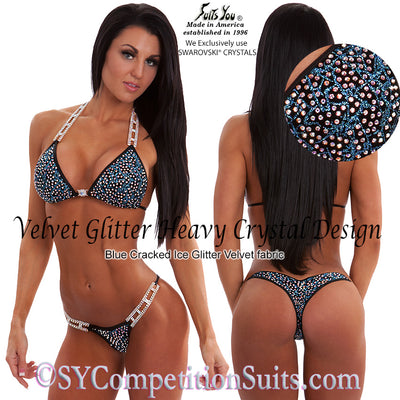 Competition Bikini, Velvet Glitter, Heavy Crystal Design, blue