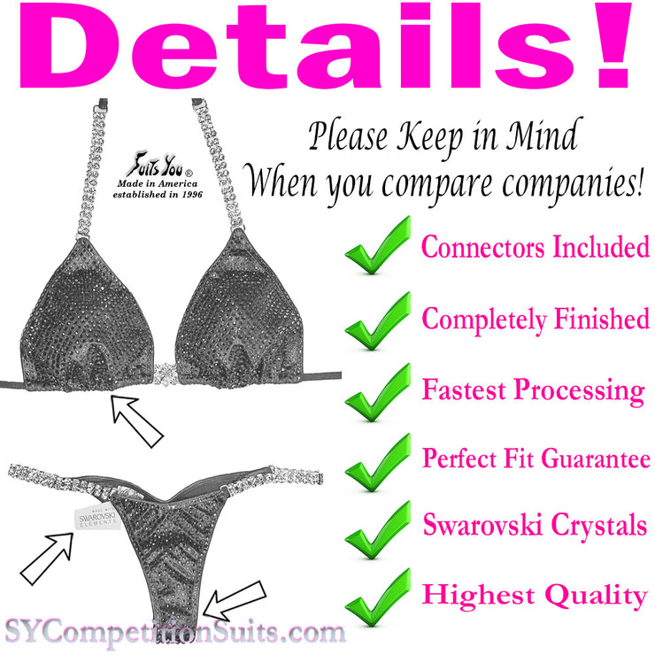 Color Crystal Competition Bikini, lots of colored crystals SYCS91