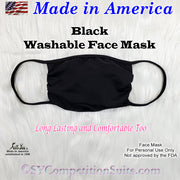 Washable Face Mask, made in America, Black fabric