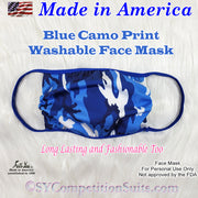 Blue Camo Face Mask, made in America