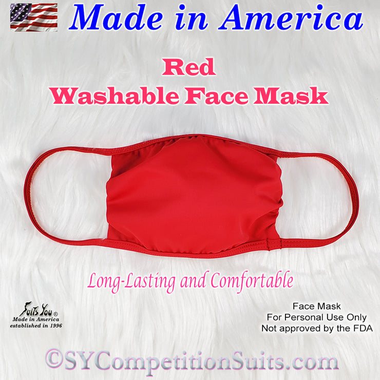 Washable Face Mask, made in America, Red fabric