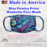Blue Paisley Print Face Mask, made in America