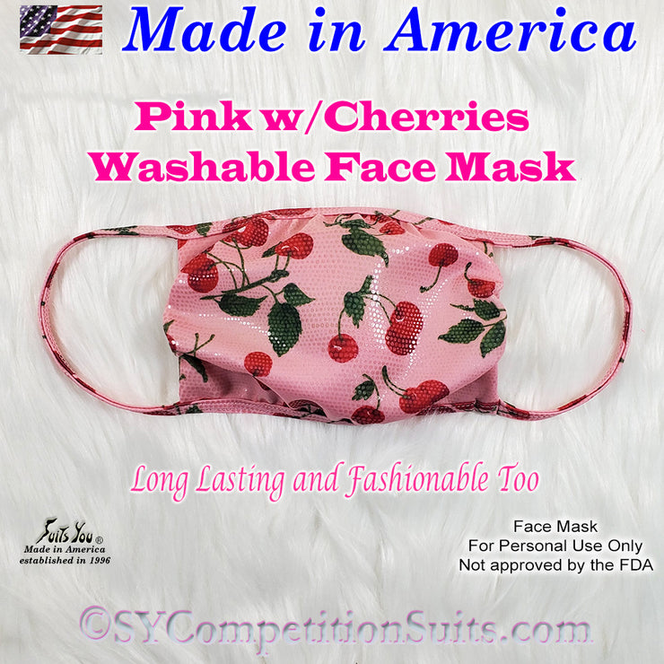 Washable Face Mask, pink with cherries